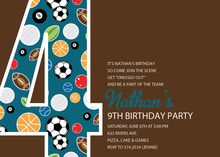 Soccer Number Four Chocolate Invitations
