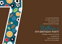 Soccer Number Seven Chocolate Invitations
