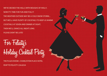 Cheer Silhouette Couple Red Invitations