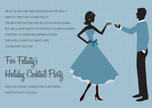 Cheer Silhouette Couple Blue Invitations
