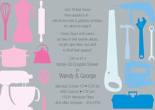 House Tools Shower Silver Invitations
