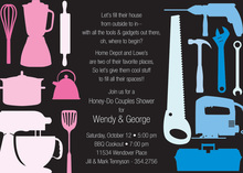 House Tools Shower Black Invitations