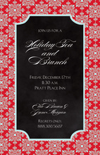 Red Flourish Black Invitations