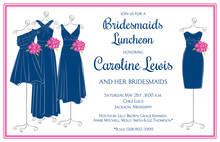 Elegant Navy Maids Bridal Shower Invites