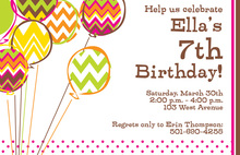 Chevron Balloons Party Invitations