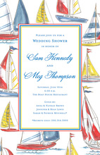 Watercolor Border Sailing Sailboats Invitation
