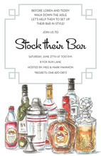 Antique Spirit Bottles Bar Invitations