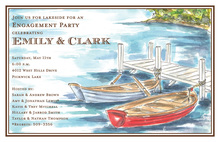 Traditional Boat Dock Watercolor Invitations