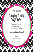 Zig Zag Chevron Framed Pink Invitations