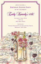 Watercolor Wine and Dine Invitations