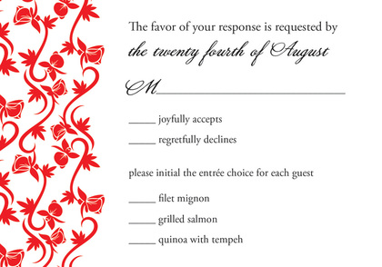 Bright Red Vines RSVP Cards