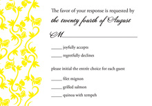 Vines Bright Yellow RSVP Cards