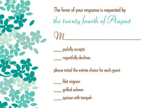 Green-Teal Blooms RSVP Cards