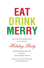 Simple Eat Drink Merry Red Invitation