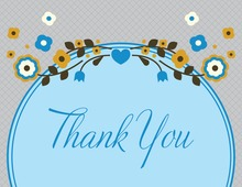 Unique Blue Floral Thank You Cards