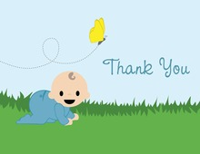 Boy Chasing Butterfly Thank You Cards