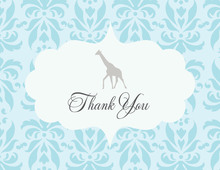 Damask Giraffe Thank You Cards