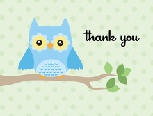 Adorable Owl Thank You Cards