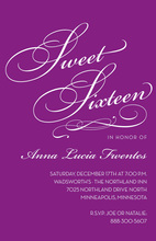 Fancy Sweet Sixteen Purple Birthday Invitations