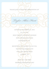 Unique Blue Scroll Cross Religious Invitations
