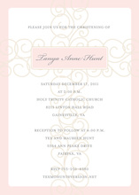 Sot Pink Scroll Cross Religious Invitations