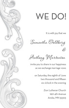 Simple Baroque Classic White-Grey Wedding Invites