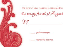 Modern Red Scroll RSVP Cards