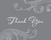 Artistic Grey Baroque Idea Thank You Cards