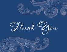 Navy Blue Baroque Engrave Design Thank You Cards