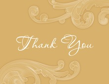 Modern Cream Baroque Shape Thank You Cards