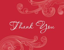 Formal Holiday Red Baroque Thank You Cards