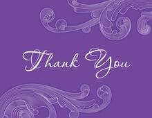 Stylish Violet Baroque Modern Feel Thank You Cards