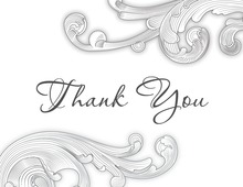 White Charcoal Ornate Baroque Thank You Cards