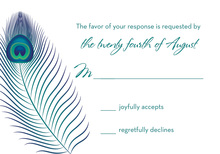 Unique Peacock Feather RSVP Cards
