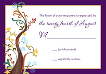 Rich Purple Border Tree RSVP Cards