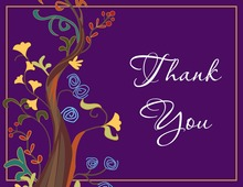 Rich Purple Unique Tree Thank You Cards