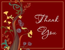 Red Modern Abstract Tree Thank You Cards