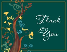 Teal Classic Tree Thank You Cards