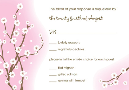 Purple Blossoms RSVP Cards