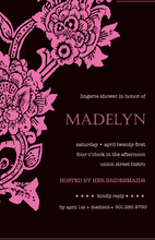 Antique Black Pink Floral Invitations