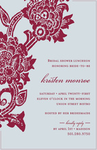 Unique Blue Crimson Floral Invitations
