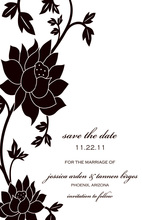 Vivid Black Flower Grows Save The Date Cards