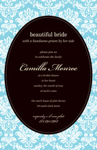 Blue Camilla Black Oval Design Invitations