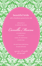 Green Camilla Pink Oval Design Invitations