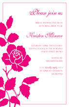 One Pink Rose White Invitations