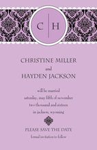 Lace Initial Lavender Invitations