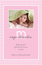 Her Special Blanket Photo Birth Announcements