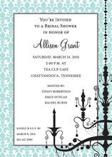 Elegant Aqua Border Chandelier Invitations