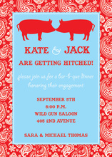 Kissing Pig For Barbeque Invitations