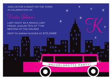 Fun Limo Bachelorette Invitations
